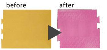 以前の歩導くんは、視覚障がい者が白杖で叩いたときの音や感触の違いで誘導路を教える仕様。黄と緑が標準色で表面はフラットだった。(写真左) 現在発売中の最新型。インテリア用Pタイルと同 じサイズに統一し、空間デザインと調和する豊富 な発色を実現。表面に柄や模様も採用した。(写真右)